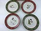 Longaberger Snowman Set of 4 Christmas Holiday Snack Plates Plate NIB