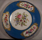 ANTIQUE FRENCH SEVRES PORCELAIN CHINA PLATE HP FLOWERS GOLD TURQUOISE AS FOUND