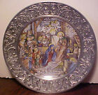 GORGEOUS RARE FROHE WEIHNACHT PORCELAIN PEWTER CHRISTMAS NATIVITY PLATE GERMANY