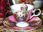 ROYAL HALSEY HOT PINK GOLD CHERUB ANGEL FOOTED CHINA CUP & SAUCER JAPAN