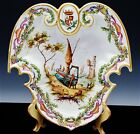 BEAUTIFUL LILLE 1767 FRENCH FAIENCE BOAT SCENIC ARMORIAL ENAMELLED POTTERY PLATE