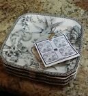 222 FIFTH ADELAIDE GREY Set of 4 Square PLATES Toile Birds APPETIZER Snack