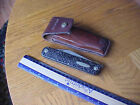 vintage Western 932 folding KNIFE & SAW Combination  in leather sheath  USA made