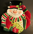Fitz Floyd Essentials Merry Christmas Snowman Canape Plate 2006