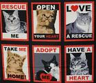Cat Fabric - RESCUE ME - CAT POSTCARD PANEL - (44