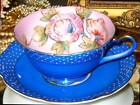OCCUPIED JAPAN BLUE & PINK POLKA DOT HP FLORAL TEA CUP AND SAUCER