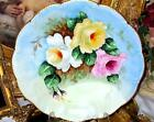LIMOGES HAND PAINTED TRI-ROSES CHARGER ARTIST SIGNED c.1904