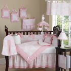 LUXURY BOUTIQUE FRENCH PINK WHITE TOILE DISCOUNT 9pc BABY GIRL CRIB BEDDING SET