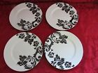 Target Home Black and White Damask Floral Scrolls 4 Dinner Plates 10 3/8 inches