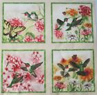 4 Different Hummingbird Bumble Bee Coneflower 7 Quilt Block Square Fabric Panel