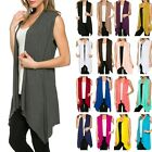 USA Women Open Vest Tunic Top Shawl Collar Draped Sleeveless Cardigan S M L XL