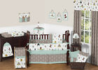 SWEET JOJO DESIGNS MODERN BLUE FOX BEAR BABY BOYS GIRLS NURSERY CRIB BEDDING SET