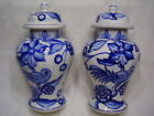 Antique Large Pair (2) of Chinese Blue and White Porcelain Ginger Jar Vases #31