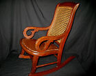 Antique Childs Oak Lincoln Rocker Rocking Chair - Cane Back - Faux Leather Seat