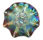 Vintage IMPERIAL Purple AMETHYST Carnival Glass PANSY Pattern RUFFLED Bowl