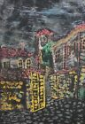 Fauvist cityscape vintage pastel drawing signed