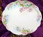 LIMOGES HAND PAINTED PINK APPLE BLOSSOM CHARGER ARTIST SIGNED c.1900's