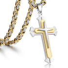 22 Mens Gold Silver Stainless Steel Cross Necklace Pendant Byzantine Chain