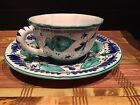 Italy Cup & Saucer Beautiful Hand Painted Ceramic Signed & Numbered