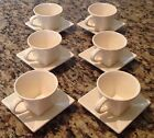 WILLIAMS SONOMA Square Bottom Cups and Saucers ~ Set of 6 EUC ~ Portugal