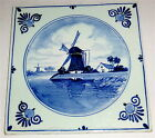 VINTAGE Hand Painted BLUE & WHITE DELFT TILE w/WINDMILL & UNKNOWN MAKER'S MARK!