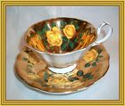 Queen Anne - 1950s - YELLOW ROSES - ROSES ON GOLD BOWL TEA CUP & SAUCER - NR