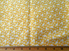 1930s Reproduction Fabric BTY White Flowers on Light Yellow 100% Cotton