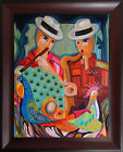 Musicians Music Cubist Original Oil Painting Cuban Art Piece Published S