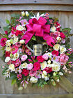 Large~WELCOME~Watering Can~SILK FLORAL WREATH~SPRING~SUMMER~Pink~New~Door Decor