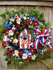 SALE~LARGE~JULY 4th~LABOR DAY~SILK FLORAL WREATH~SUMMER~FLOWER~Home~Door Decor