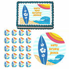 Beach Surfs Up Surfing Summer Edible Birthday Party Cake or Cupcake Topper