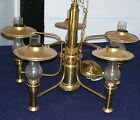 ANTIQUE BRASS CHANDELIER ARTS & CRAFTS/MISSION STYLE WITH FIVE LIGHTS