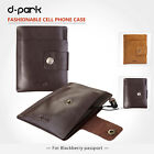 d-park Brown Genuine Leather Pouch Case Sleeve For Blackberry Passport Q30