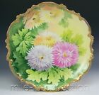 LOVELY LIMOGES HAND PAINTED CHRYSANTHEMUMS CHARGER WALL PLAQUE ARTIST HARRY