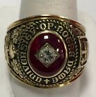VINTAGE 1950 UNIVERSITY OF NOTRE DAME 10K SOLID GOLD DIAMOND & RUBY SCHOOL RING