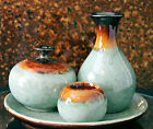 Pottery Stoneware Tea Light Candle Holder, Oil Lamp, Vase & Plate Set Teal Brown