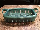 PARMENTIER ceramic woven dish Aqua Blue Turquoise marked modern fruit bowl