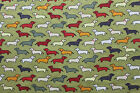 100 Cotton SNUGGLE FLANNEL Fabric DACHSHUNDS ON OLIVE NEW 22 Piece