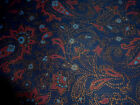 100% Cotton Fabric Concord Kessler Red Gold Blue Paisley on Dark Blue 3 YD x 44