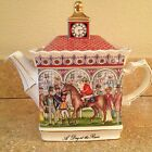 A DAY AT THE RACES Horse Racing SADLER Teapot Made in England