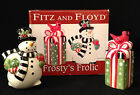 Fitz & Floyd Frosty's Frolic Salt and Pepper  Shakers Porcelain Snowman Holiday
