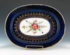 ANTIQUE CHAMBERLAIN WORCESTER PORCELAIN COBALT BLUE GOLD HAND PAINTED PLATTER