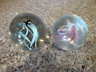 Two Vintage Glass Paperweights White Birds and a Black Bird with Swirl Designs
