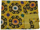 Yellow Indian Floral Kantha Quilt Embroidered Bedspread Throw Queen Size Blanket