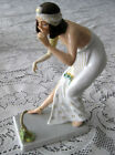 Antique 1920's Hand Painted Rosenthal Porcelain Art Deco Figurine Snake Charmer