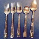 LIfetime SILVER LEAVES Lot of 3 Salad Forks Soup And Sugar Spoon Japan Vtg