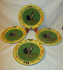 4 Dinner Plates-Provence Rooster-Style Eyes-Baum Bros-DW/MW Safe-10 1/4