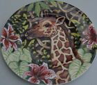 Fitz Floyd salad plate Exotic Jungle Tropics wild animal Hibiscus flower Giraffe