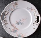 Antique (1905-11) POUYAT Limoges HANDLED Cake Plate BLUE Flowers/Pink Stems/Gold