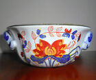Italian Pottery Bowl HAND PAINTED for TIFFANY White w/ Red Orange Blue 5.5